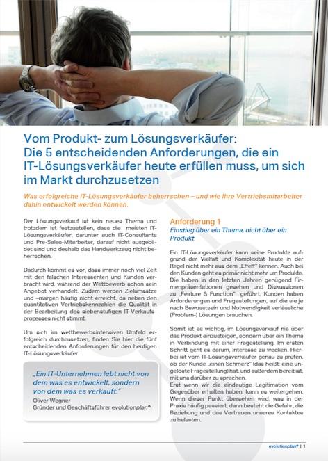 Vom Produktverkäufer zum Lösungsverkäufer, Verkaufstraining, Vertriebstraining